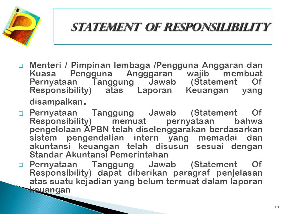 STATEMENT OF RESPONSILIBILITY