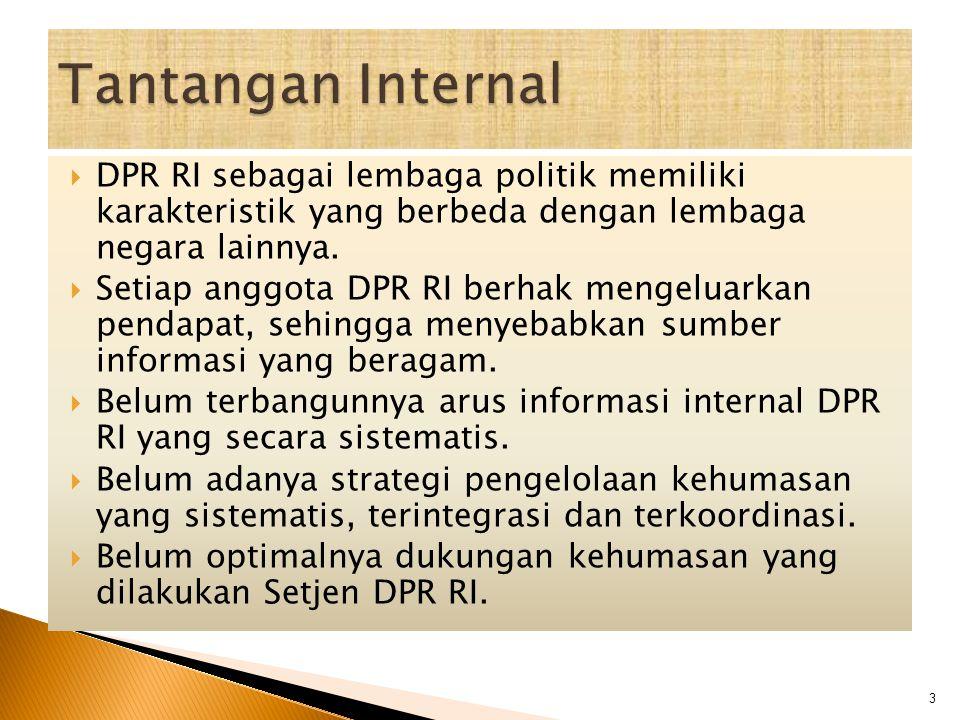 Tantangan Internal DPR RI sebagai lembaga politik memiliki karakteristik yang berbeda dengan lembaga negara lainnya.