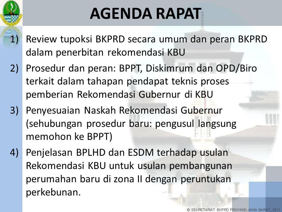 AGENDA RAPAT Review tupoksi BKPRD secara umum dan peran BKPRD dalam penerbitan rekomendasi KBU.