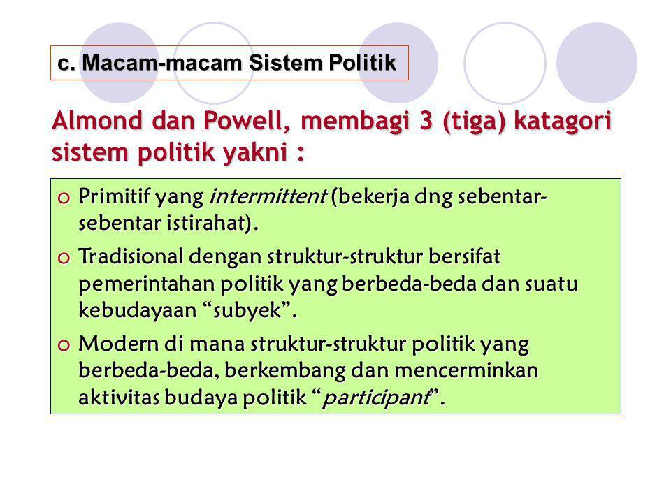 Almond dan Powell, membagi 3 (tiga) katagori sistem politik yakni :