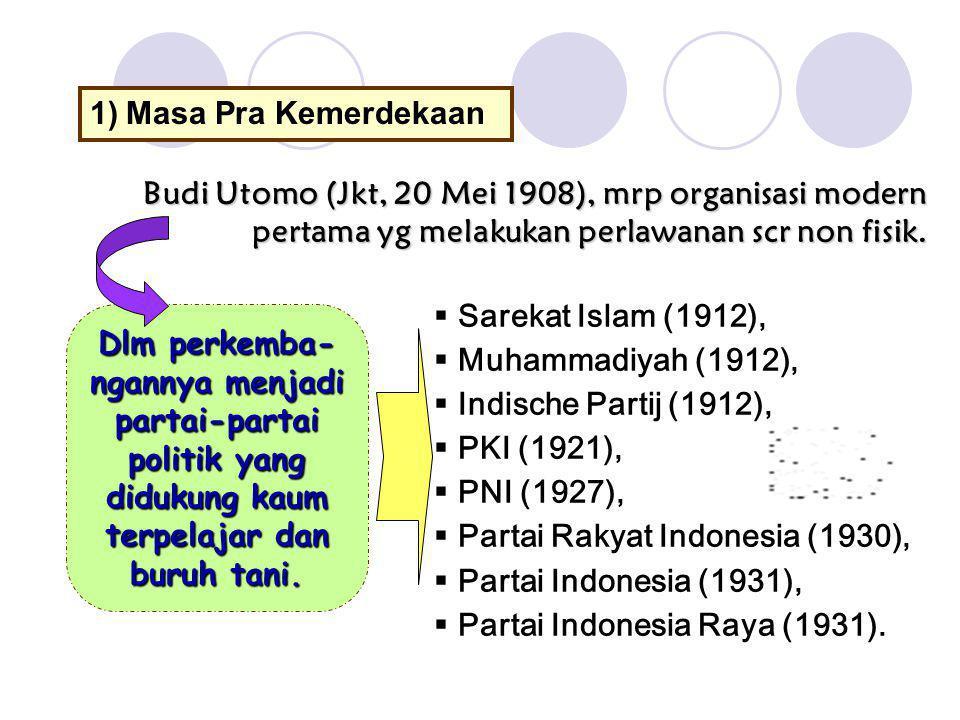 Masa Pra Kemerdekaan Budi Utomo (Jkt, 20 Mei 1908), mrp organisasi modern pertama yg melakukan perlawanan scr non fisik.