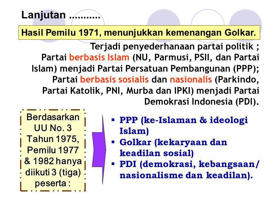 Lanjutan ........... Hasil Pemilu 1971, menunjukkan kemenangan Golkar.