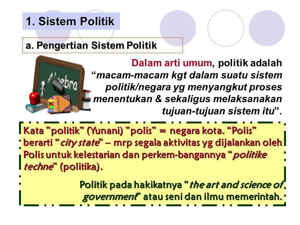 1. Sistem Politik a. Pengertian Sistem Politik