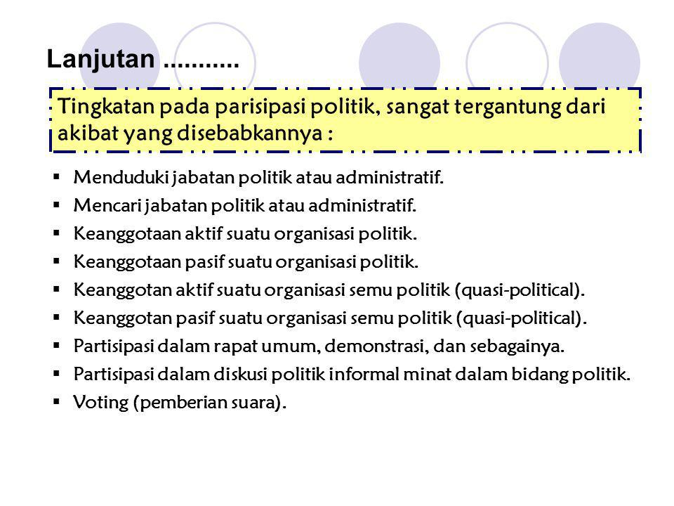 Lanjutan ........... Tingkatan pada parisipasi politik, sangat tergantung dari akibat yang disebabkannya :