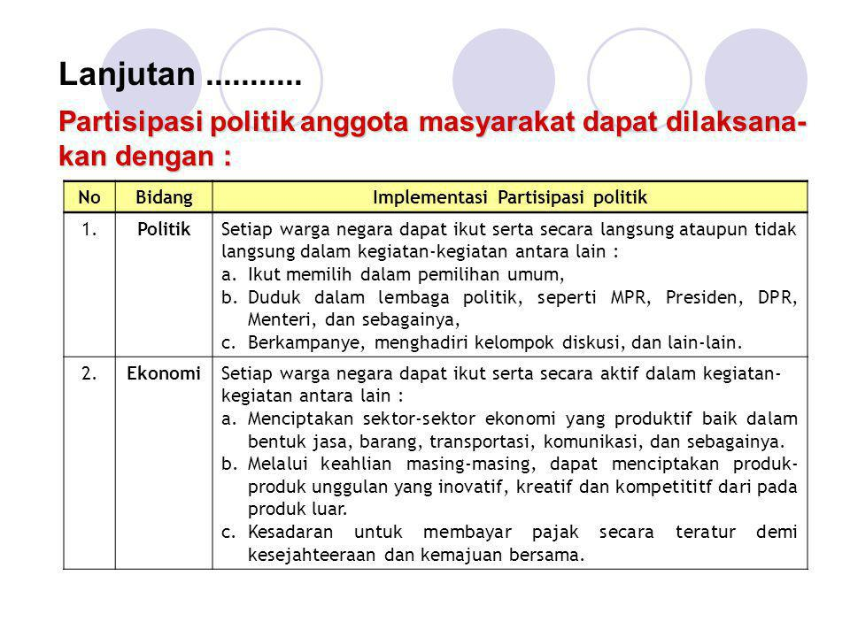 Implementasi Partisipasi politik