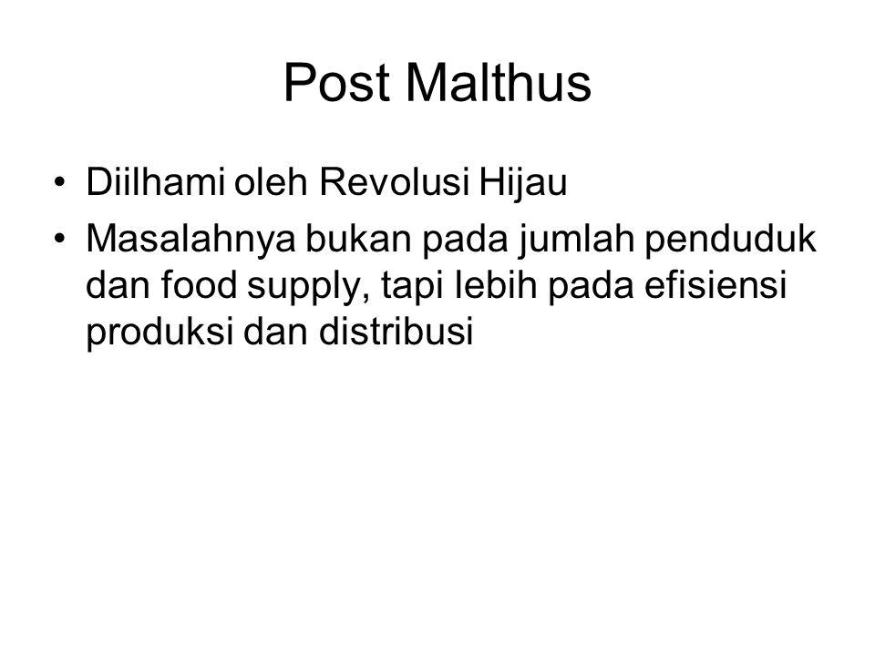 Post Malthus Diilhami oleh Revolusi Hijau