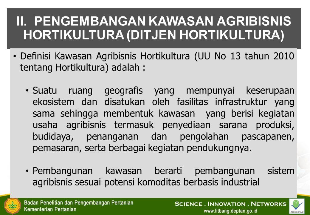 II. PENGEMBANGAN KAWASAN AGRIBISNIS HORTIKULTURA (DITJEN HORTIKULTURA)