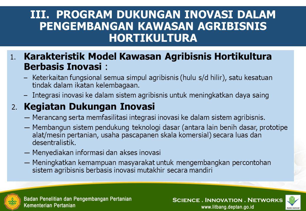 III. PROGRAM DUKUNGAN INOVASI DALAM PENGEMBANGAN KAWASAN AGRIBISNIS HORTIKULTURA