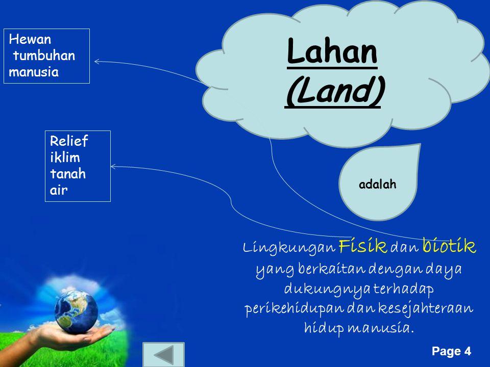 Lahan (Land) Hewan. tumbuhan. manusia. Relief. iklim. tanah. air. adalah.