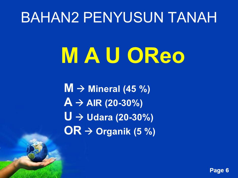M A U OReo BAHAN2 PENYUSUN TANAH M  Mineral (45 %) A  AIR (20-30%)
