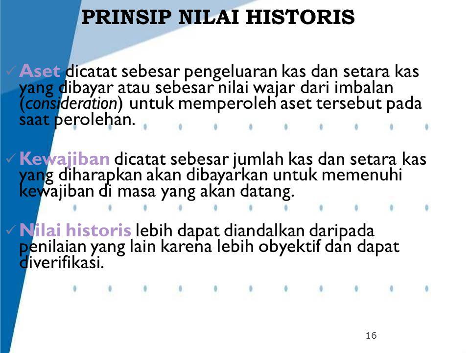 PRINSIP NILAI HISTORIS