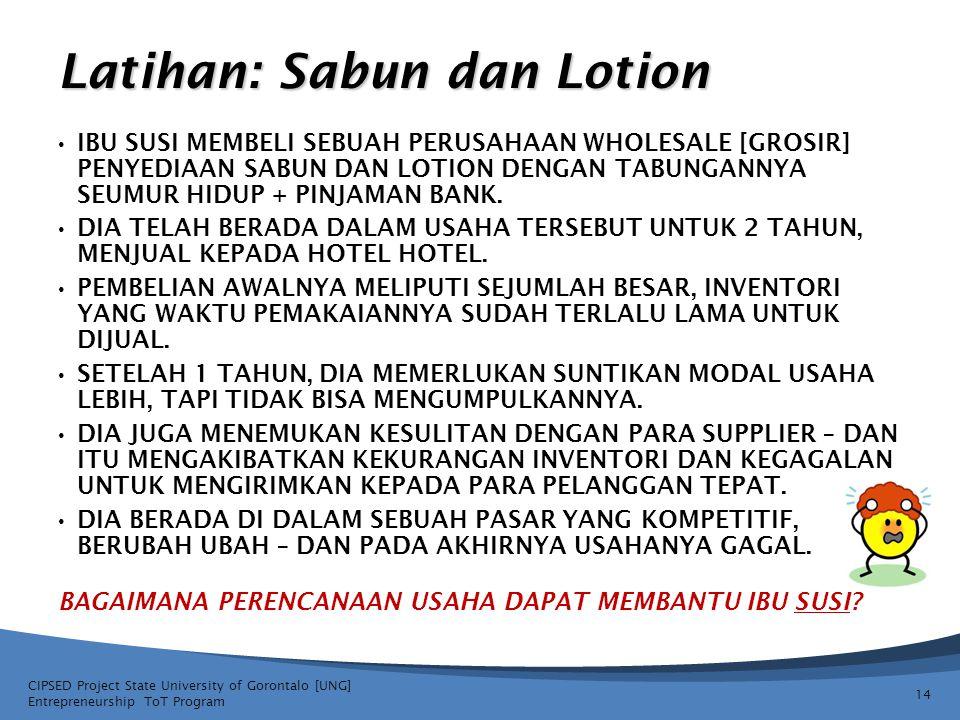 Latihan: Sabun dan Lotion