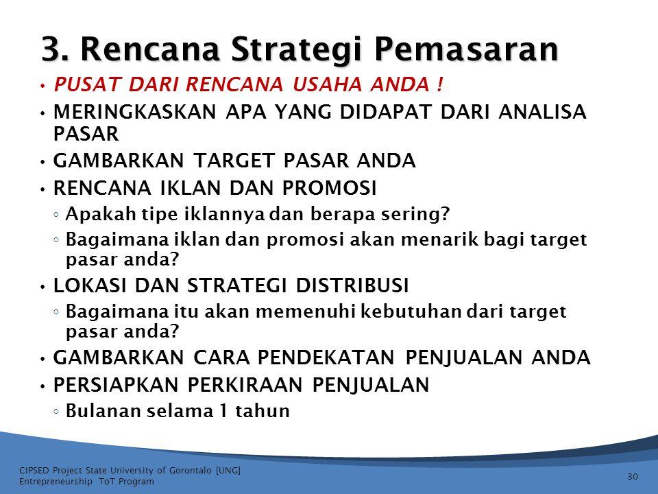 3. Rencana Strategi Pemasaran