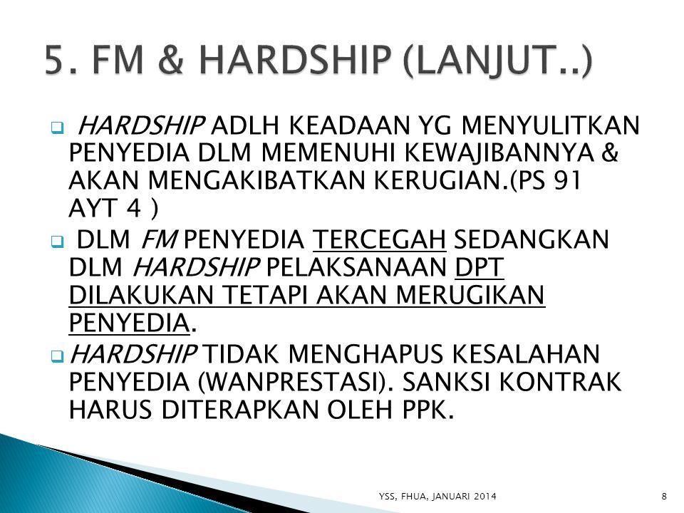 5. FM & HARDSHIP (LANJUT..) HARDSHIP ADLH KEADAAN YG MENYULITKAN PENYEDIA DLM MEMENUHI KEWAJIBANNYA & AKAN MENGAKIBATKAN KERUGIAN.(PS 91 AYT 4 )
