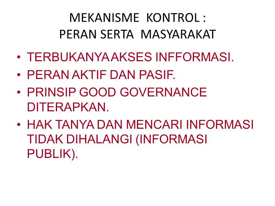 MEKANISME KONTROL : PERAN SERTA MASYARAKAT