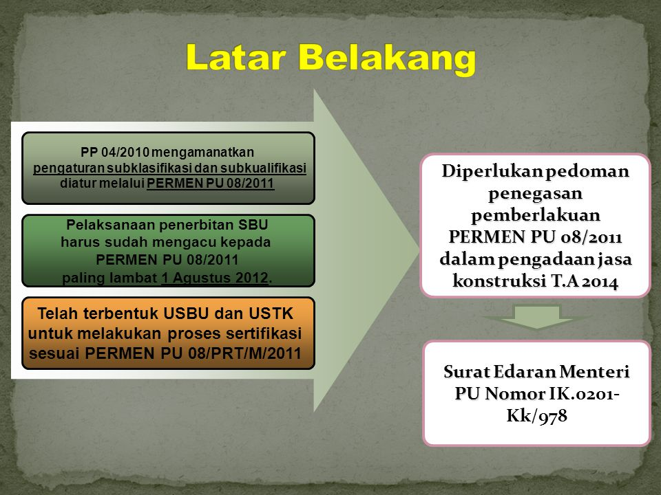 Latar Belakang PP 04/2010 mengamanatkan. pengaturan subklasifikasi dan subkualifikasi. diatur melalui PERMEN PU 08/2011.