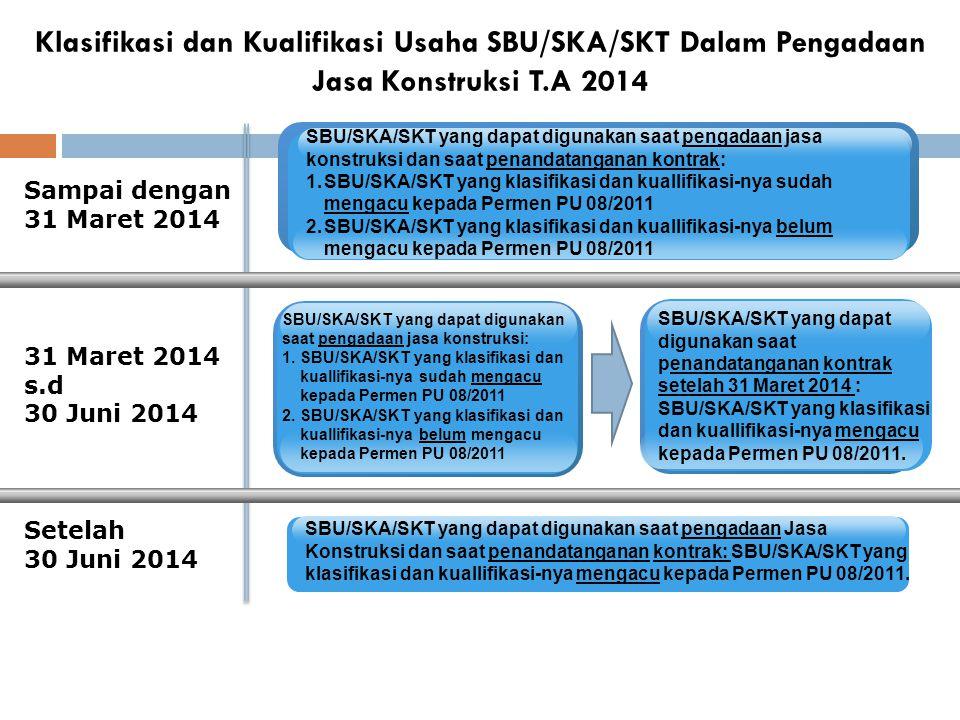 Klasifikasi dan Kualifikasi Usaha SBU/SKA/SKT Dalam Pengadaan Jasa Konstruksi T.A 2014