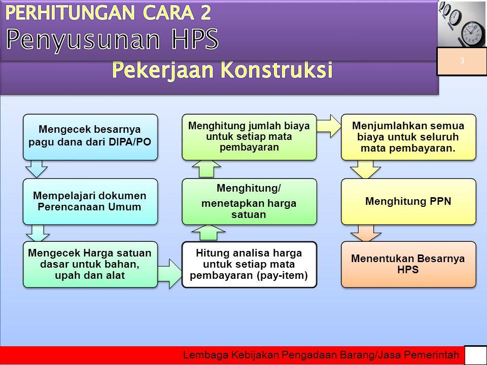 c)RUANG LINGKUP HPS Untuk Pekerjaan Konstruksi/Jasa Lainnya meliputi : kuantitas dan spesifikasi teknis.