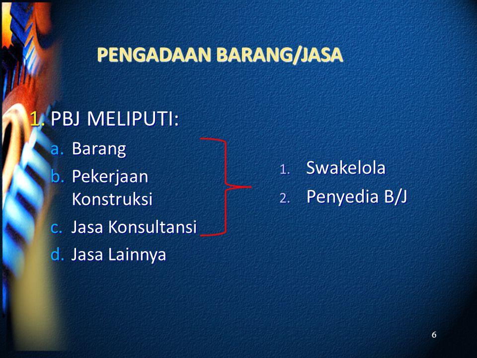 PBJ MELIPUTI: PENGADAAN BARANG/JASA Swakelola Penyedia B/J Barang