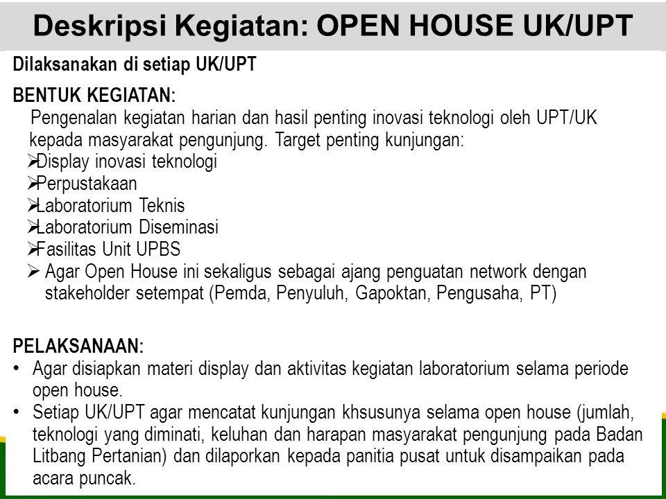 Deskripsi Kegiatan: OPEN HOUSE UK/UPT