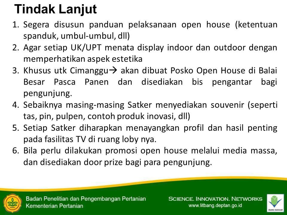Tindak Lanjut Segera disusun panduan pelaksanaan open house (ketentuan spanduk, umbul-umbul, dll)