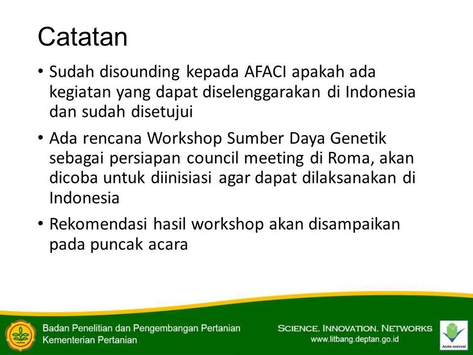 Catatan Sudah disounding kepada AFACI apakah ada kegiatan yang dapat diselenggarakan di Indonesia dan sudah disetujui.