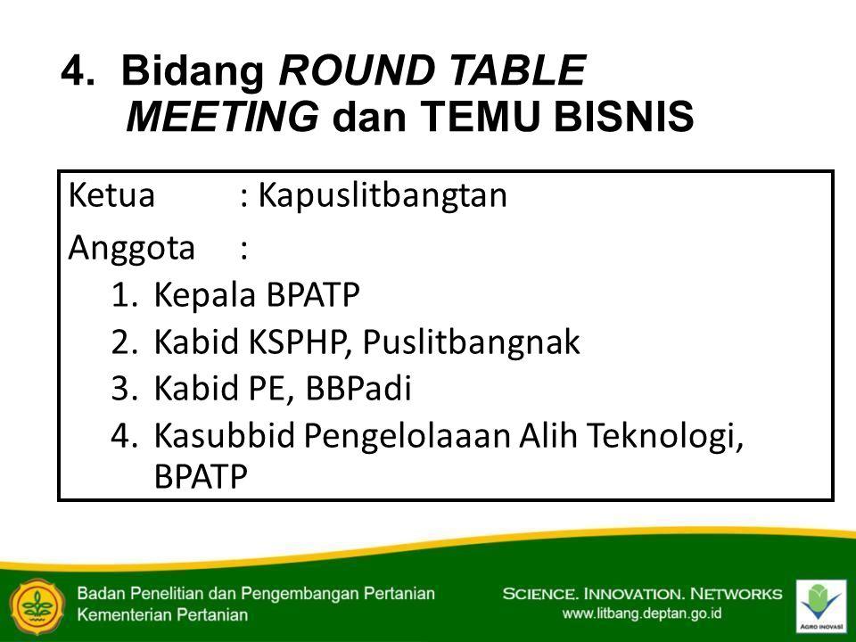 4. Bidang ROUND TABLE MEETING dan TEMU BISNIS