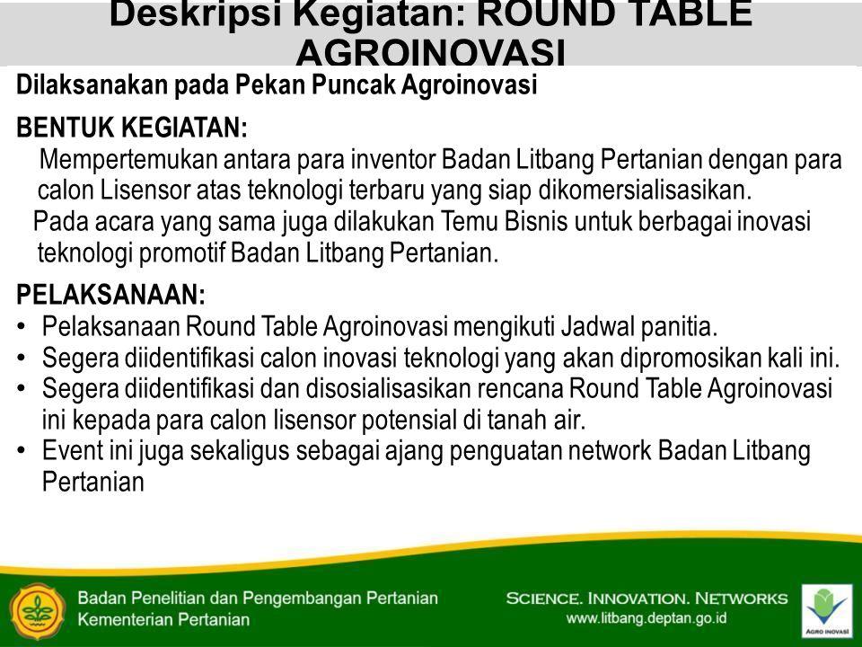 Deskripsi Kegiatan: ROUND TABLE AGROINOVASI