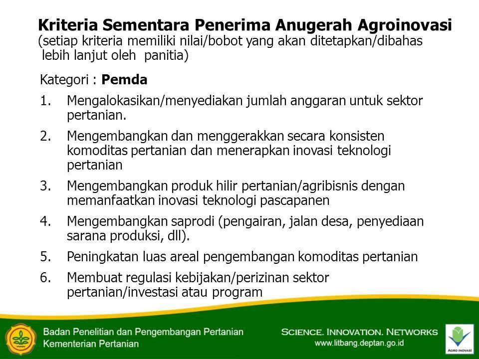 Kriteria Sementara Penerima Anugerah Agroinovasi (setiap kriteria memiliki nilai/bobot yang akan ditetapkan/dibahas lebih lanjut oleh panitia)
