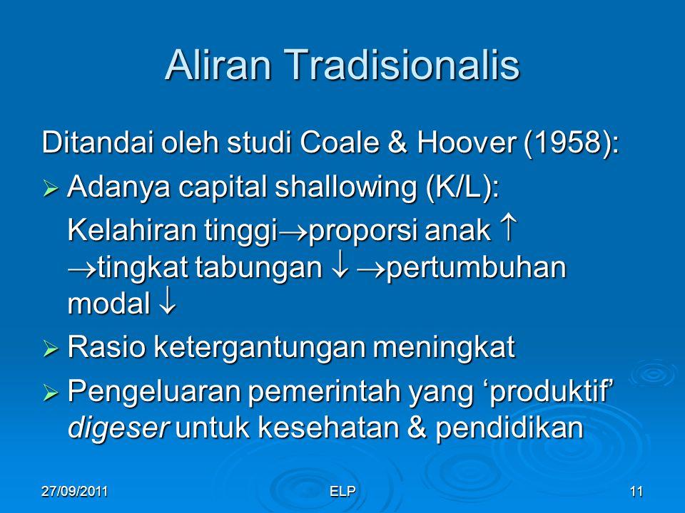 Aliran Tradisionalis Ditandai oleh studi Coale & Hoover (1958):