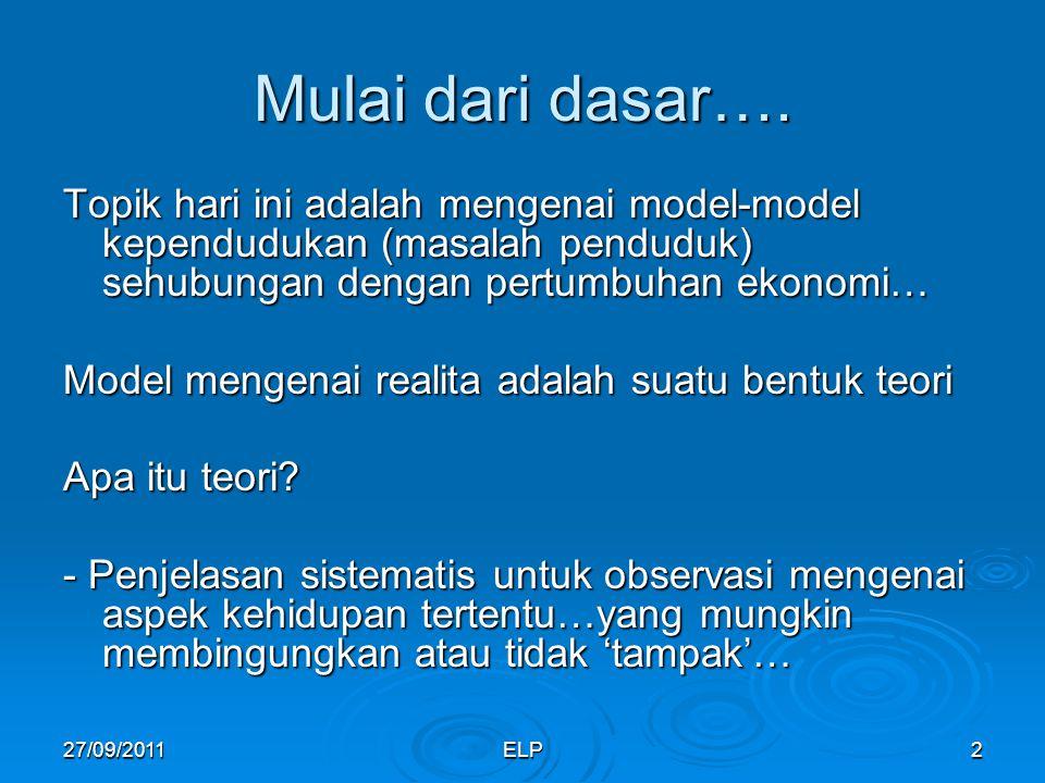 Mulai dari dasar…. Topik hari ini adalah mengenai model-model kependudukan (masalah penduduk) sehubungan dengan pertumbuhan ekonomi…