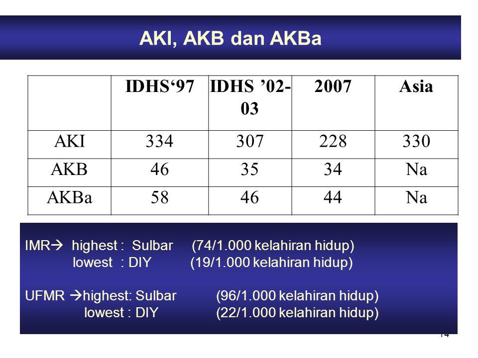 AKI, AKB dan AKBa IDHS'97 IDHS '02-03 2007 Asia AKI 334 307 228 330