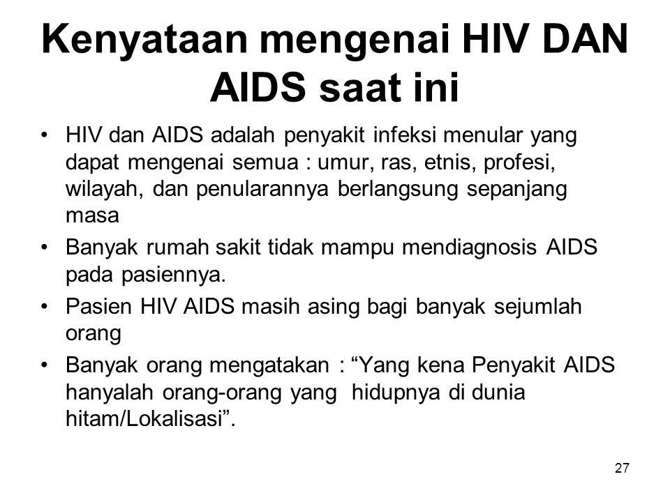 Kenyataan mengenai HIV DAN AIDS saat ini
