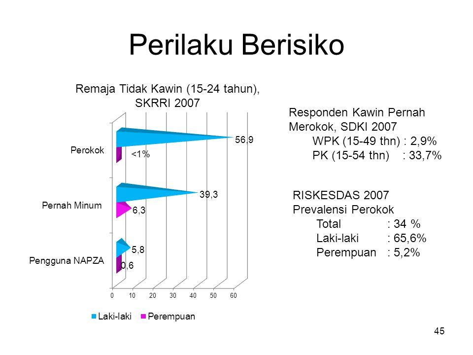 Remaja Tidak Kawin (15-24 tahun), SKRRI 2007