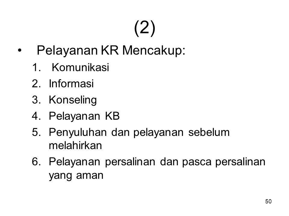 (2) Pelayanan KR Mencakup: Komunikasi Informasi Konseling Pelayanan KB