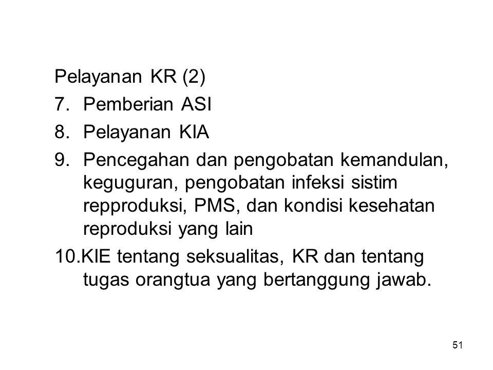 Pelayanan KR (2) 7. Pemberian ASI. 8. Pelayanan KIA.