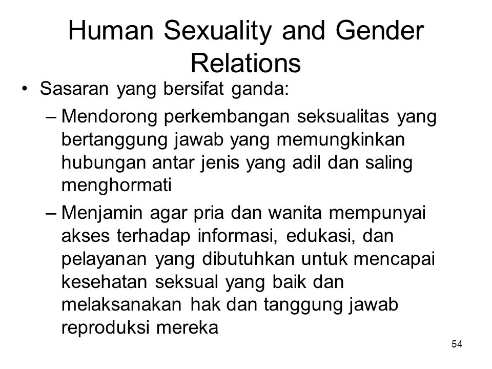 Human Sexuality and Gender Relations