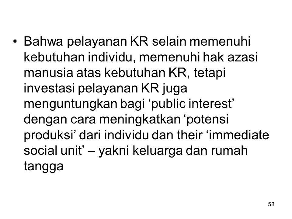 Bahwa pelayanan KR selain memenuhi kebutuhan individu, memenuhi hak azasi manusia atas kebutuhan KR, tetapi investasi pelayanan KR juga menguntungkan bagi 'public interest' dengan cara meningkatkan 'potensi produksi' dari individu dan their 'immediate social unit' – yakni keluarga dan rumah tangga