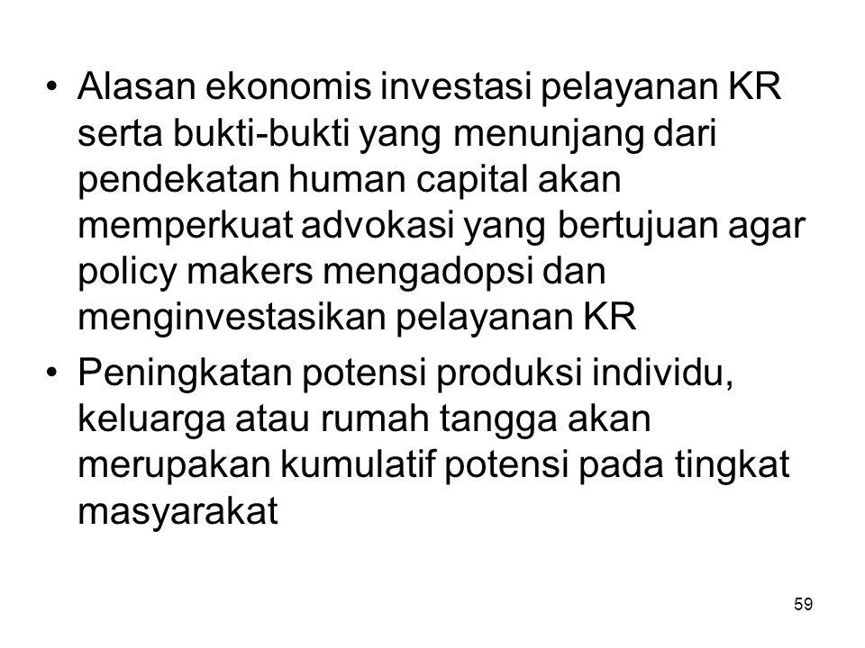 Alasan ekonomis investasi pelayanan KR serta bukti-bukti yang menunjang dari pendekatan human capital akan memperkuat advokasi yang bertujuan agar policy makers mengadopsi dan menginvestasikan pelayanan KR