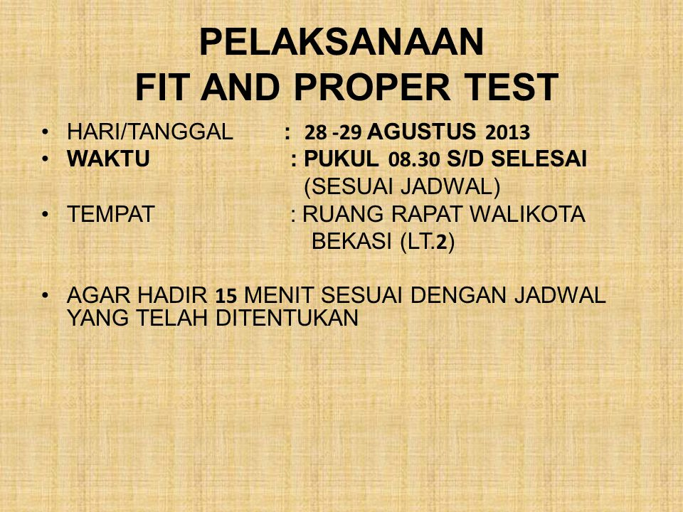 PELAKSANAAN FIT AND PROPER TEST