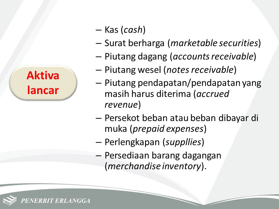 Aktiva lancar Kas (cash) Surat berharga (marketable securities)