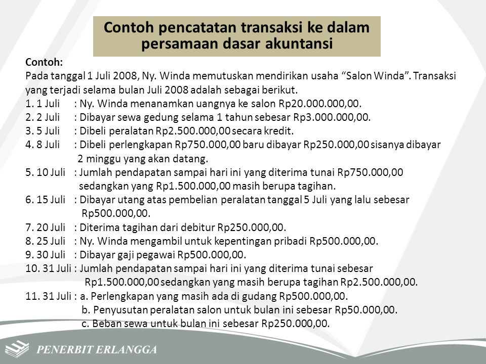 Contoh pencatatan transaksi ke dalam persamaan dasar akuntansi