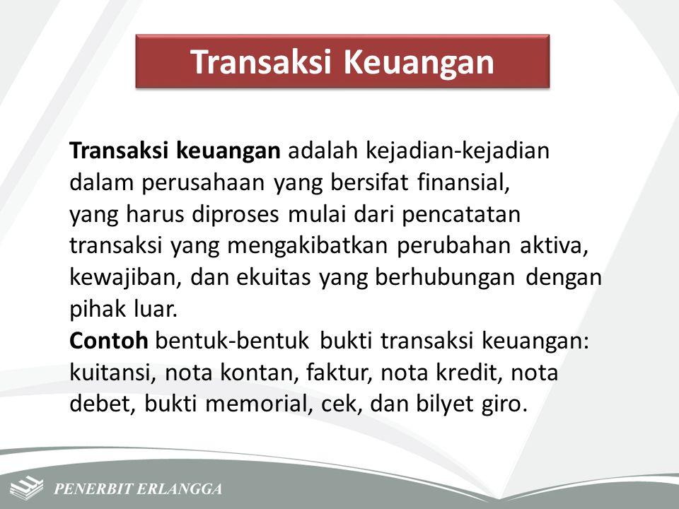 Transaksi Keuangan Transaksi keuangan adalah kejadian-kejadian