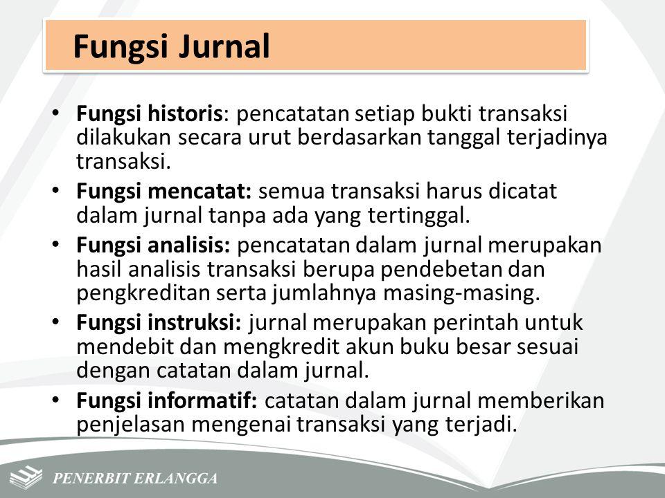 Fungsi Jurnal Fungsi historis: pencatatan setiap bukti transaksi dilakukan secara urut berdasarkan tanggal terjadinya transaksi.