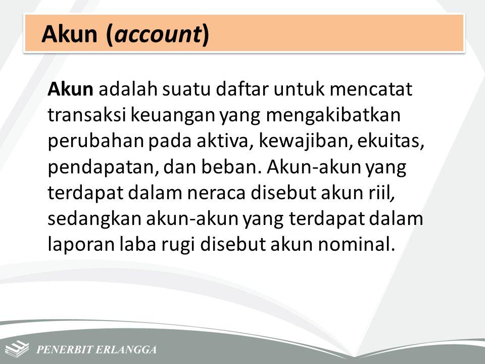 Akun (account) Akun adalah suatu daftar untuk mencatat