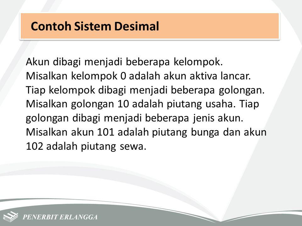 Contoh Sistem Desimal Akun dibagi menjadi beberapa kelompok.