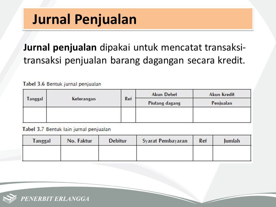 Jurnal Penjualan Jurnal penjualan dipakai untuk mencatat transaksi-transaksi penjualan barang dagangan secara kredit.