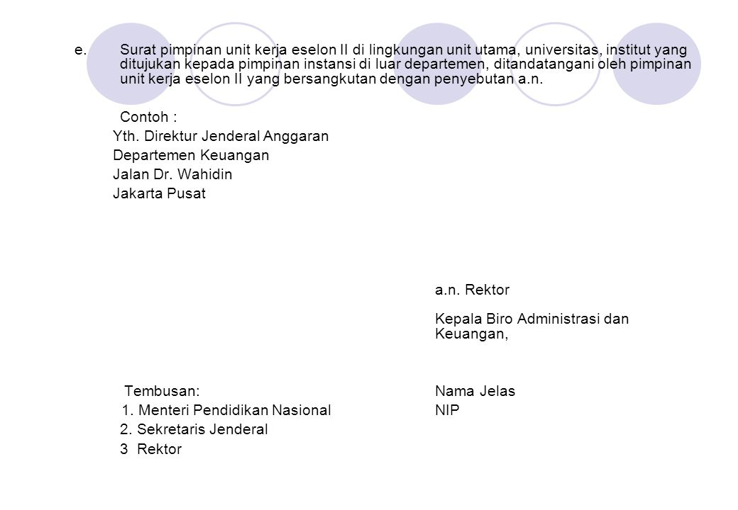Surat pimpinan unit kerja eselon II di lingkungan unit utama, universitas, institut yang ditujukan kepada pimpinan instansi di luar departemen, ditandatangani oleh pimpinan unit kerja eselon II yang bersangkutan dengan penyebutan a.n.
