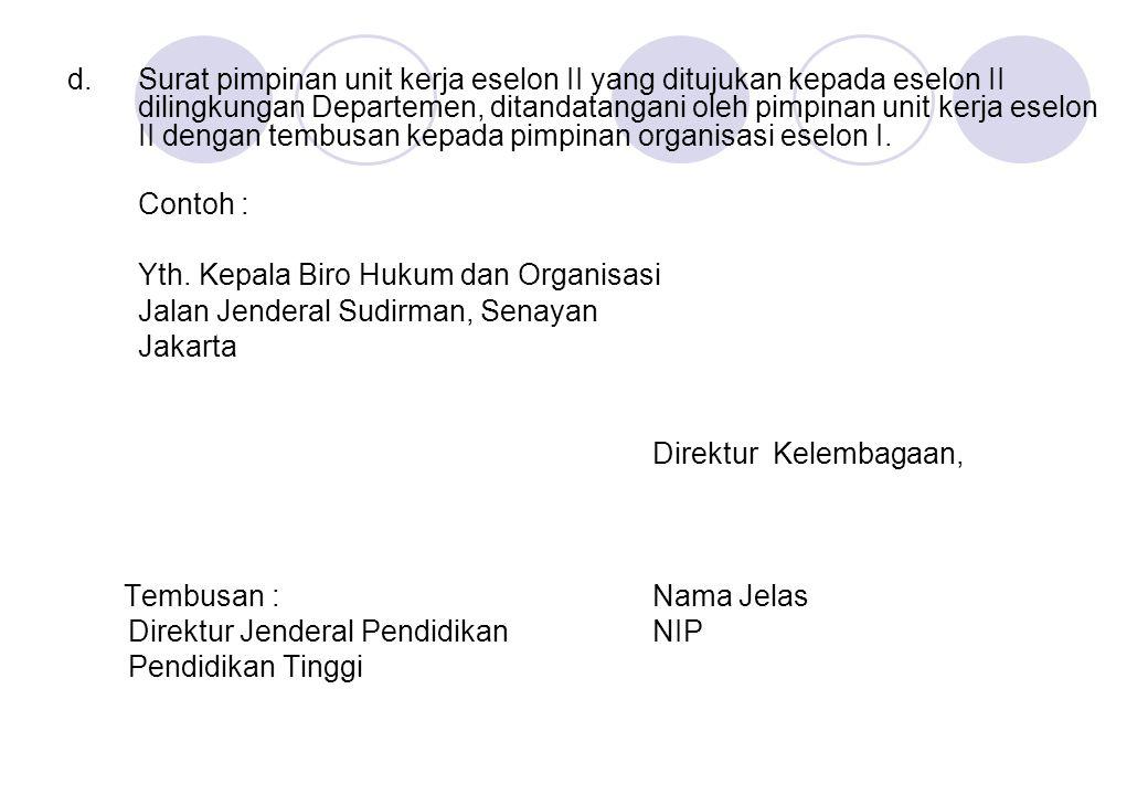 Yth. Kepala Biro Hukum dan Organisasi Jalan Jenderal Sudirman, Senayan