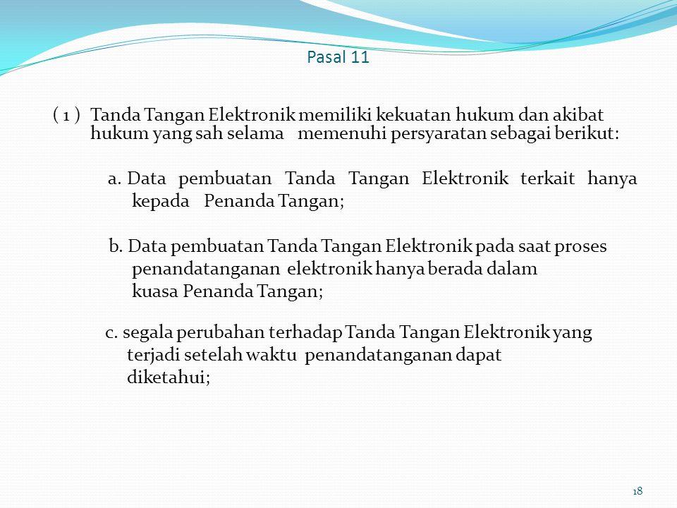 a. Data pembuatan Tanda Tangan Elektronik terkait hanya